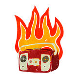 retro cartoon burning radio Royalty Free Stock Image