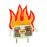retro cartoon burning radio Royalty Free Stock Photos