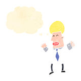 retro cartoon business guy with thought bubble Royalty Free Stock Photo