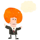 Retro cartoon businessman with big hair Stock Images