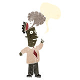 retro cartoon businessman with steaming brain stock illustration