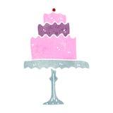 Retro cartoon cake on stand Stock Photos