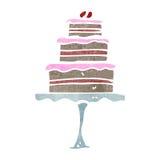 Retro cartoon cake on stand Stock Photography