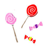 Retro cartoon candy and lollipops Royalty Free Stock Photo