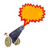 Retro cartoon cannon firing. Retro cartoon with texture. Isolated on White Stock Photo