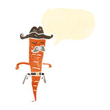 Retro cartoon carrot cowboy Stock Images