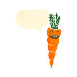 Retro cartoon carrot with speech bubble Stock Photos