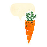 Retro cartoon carrot with speech bubble Royalty Free Stock Image