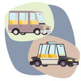 Retro Cartoon Cars Police Family Travel  Vector Stock Photo
