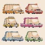 Retro Cartoon Cars Set Stock Photo