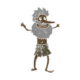 Retro cartoon castaway man Royalty Free Stock Images
