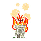 Retro cartoon castle on fire Stock Images