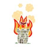 retro cartoon castle on fire royalty free illustration
