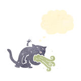 Retro cartoon cat being sick Stock Image