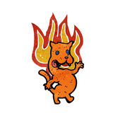 Retro cartoon cat on fire. Retro cartoon with texture. Isolated on White Royalty Free Stock Images