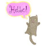 retro cartoon cat saying hello Royalty Free Stock Photography