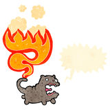 Retro cartoon cat with tail on fire Royalty Free Stock Image
