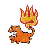 Retro cartoon cat with tail on fire Royalty Free Stock Images