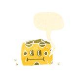 retro cartoon cheese with speech bubble Stock Photos