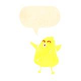 Retro cartoon chick with speech bubble Royalty Free Stock Photo