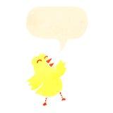 Retro cartoon chick with speech bubble Stock Photos
