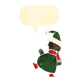 Retro cartoon chirstmas elf with speech bubble Royalty Free Stock Images