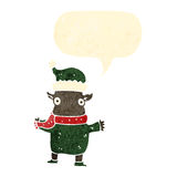 Retro cartoon chirstmas elf with speech bubble Royalty Free Stock Image