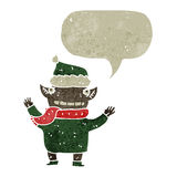 Retro cartoon chirstmas elf with speech bubble Royalty Free Stock Photography