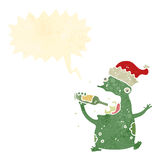 Retro cartoon chirstmas party frog Stock Image