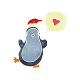 Retro cartoon chirstmas penguin Stock Photography