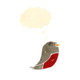 Retro cartoon chirstmas robin with thought bubble Stock Photography