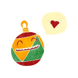 Retro cartoon christmas decoration with love heart Royalty Free Stock Image