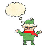 Retro cartoon christmas elf Stock Photos