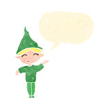 Retro cartoon christmas elf Stock Image