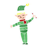 Retro cartoon christmas elf Royalty Free Stock Photography