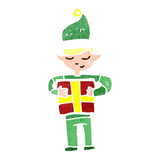 Retro cartoon christmas elf Stock Photography