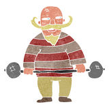 Retro cartoon circus strongman Stock Photo