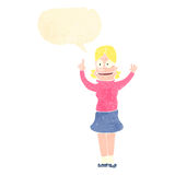 Retro cartoon clever blond girl with idea Stock Photo