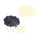 Retro cartoon cloud blowing wind Royalty Free Stock Photo