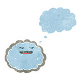 Retro cartoon cloud with silver lining. Retro cartoon with texture. Isolated on White Royalty Free Stock Image