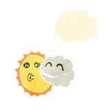 retro cartoon cloud and sun Royalty Free Stock Photo