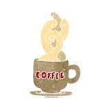 Retro cartoon coffee cup. Retro cartoon illustration. On plain white background vector illustration