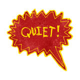 Retro cartoon comic book shout for quiet. Retro cartoon with texture. Isolated on White Stock Images