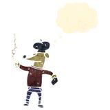 Retro cartoon cool french dog smoking cigarette Stock Image