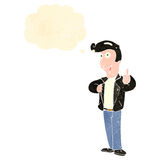 retro cartoon cool guy with thought bubble Royalty Free Stock Photography