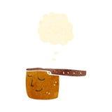 Retro cartoon copper saucepan Royalty Free Stock Image
