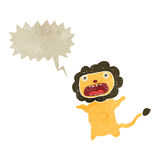Retro cartoon cowardly lion with speech bubble Stock Image
