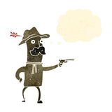 Retro cartoon cowboy with gun Stock Image