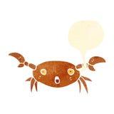 Retro cartoon crab with speech bubble Stock Photography