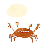 Retro cartoon crab with thought bubble Stock Images